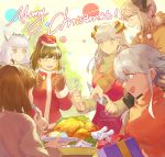 6+girls apron arknights bangs blush bob_cut brown_hair christmas christmas_ornaments christmas_present christmas_tree earrings fake_facial_hair fake_mustache feathers fork grey_eyes hat highlights hood hoodie horns ifrit_(arknights) jewelry knife long_hair looking_at_another magallan_(arknights) mayer_(arknights) multicolored_hair multiple_girls narakuuu orange_eyes platinum_blonde_hair ptilopsis_(arknights) santa_costume santa_hat saria_(arknights) short_hair silence_(arknights) smile sweater table turkey turtleneck turtleneck_sweater yellow_eyes