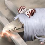 1girl arano_oki bangs bone bow breathing_fire broken crossover fire fujiwara_no_mokou graphite_(medium) hair_bow hair_over_eyes lying mechanical_pencil monster parody parted_bangs pencil plank scp-682 scp_foundation silver_hair skull solo teeth touhou traditional_media white_bow