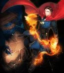 1boy black_hair boots broken_glass cape doctor_strange doctor_strange_(series) dormammu dual_persona eyes facial_hair floating glass haneten_kagatsu highres inset magic_circle male_focus marvel mustache robe solo_focus