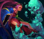 1girl blue_kimono closed_mouth fate/grand_order fate_(series) floating_hair inishie_kumo japanese_clothes kimono long_hair long_sleeves looking_at_viewer off-shoulder_kimono pelvic_curtain pink_eyes pink_hair skull solo very_long_hair wu_zetian_(fate/grand_order)