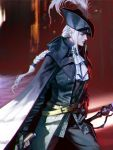 1girl belt belt_buckle black_cape black_gloves black_headwear bloodborne braid buckle cape closed_mouth feathers frills gloves glowing glowing_eyes hand_on_hip hat hat_feather highres holding holding_sword holding_weapon lady_maria_of_the_astral_clocktower long_hair moruga red_eyes solo sword weapon white_hair yellow_belt