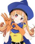 1girl alena_(dq4) belt black_belt blue_cape blue_headwear blush cape curly_hair dragon_quest dragon_quest_iv earrings eyebrows_visible_through_hair gloves green_earrings hat ixy jewelry long_hair looking_at_viewer orange_gloves orange_hair red_eyes simple_background smile solo white_background