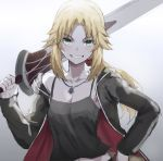 1girl artoria_pendragon_(all) backlighting bangs black_camisole black_jacket blonde_hair blush breasts clarent collarbone cosplay cross cross_necklace fate/apocrypha fate/grand_order fate_(series) gradient gradient_background green_eyes grey_background grin highres jacket jet_black_king_of_knights_ver._shinjuku_1999 jewelry long_hair long_sleeves looking_at_viewer low_ponytail mordred_(fate) mordred_(fate)_(all) necklace open_clothes open_jacket over_shoulder parted_bangs ponytail saber_alter saber_alter_(cosplay) sidelocks small_breasts smile sword tonee weapon weapon_over_shoulder