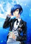 1boy bangs black_jacket black_ribbon blue_background blue_eyes blue_hair collared_shirt dress_shirt full_moon hand_in_hair highres holding jacket long_sleeves male_focus moon neck_ribbon open_clothes open_jacket parted_lips persona persona_3 ribbon sato-pon shiny shiny_hair shirt short_hair solo swept_bangs twitter_username upper_body white_shirt wing_collar yuuki_makoto