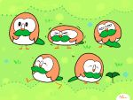 >_< ^_^ animated animated_gif bird bird_focus blush closed_eyes commentary creature english_commentary explosion full_body gen_7_pokemon grass keke_(kokorokeke) no_humans owl plant pokemon pokemon_(creature) rowlet signature spinning trembling walking wings