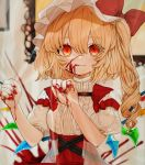 1girl :q bangs blonde_hair blood blood_on_face bloody_hands bow center_frills commentary_request crystal eyebrows_visible_through_hair flandre_scarlet gotoh510 hair_between_eyes hands_up hat hat_bow high-waist_skirt highres indoors long_hair looking_at_viewer mob_cap one_side_up puffy_short_sleeves puffy_sleeves red_bow red_eyes red_skirt shirt short_sleeves skirt smile solo tongue tongue_out touhou upper_body white_headwear white_shirt wings