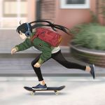 1girl backpack bag bandage_on_face black_hair blue_footwear blurry blurry_background building green_jacket headphones jacket long_hair long_sleeves no_socks original pants red_backpack shirt shoes skateboard skateboarding skinny_jeans sneakers solo suzushiro_(suzushiro333) twintails white_shirt wire