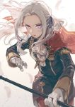 1girl aiguillette cape commentary determined edelgard_von_hresvelg english_commentary feathers fire_emblem fire_emblem:_three_houses garreg_mach_monastery_uniform gloves hair_ribbon holding holding_weapon jef_(fe89392148) lavender_eyes long_hair looking_at_viewer military military_uniform parted_lips ribbon solo uniform v-shaped_eyebrows weapon white_hair