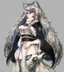 1girl animal_ears animal_print arknights black_cape braid breasts cape commentary_request cowboy_shot grey_background grey_eyes grey_hair grey_legwear highres jewelry large_breasts leopard_ears leopard_print leopard_tail long_hair looking_away necklace nidaime_(doronbo) pramanix_(arknights) side_braids simple_background solo tail thigh-highs turtleneck_dress