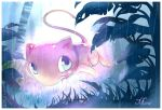 blue_eyes creature dated floating full_body gen_1_pokemon littlelluu mew no_humans outdoors plant pokemon pokemon_(creature) rain signature solo