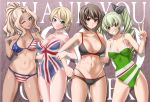 4girls ;d adjusting_bow alternate_hairstyle american_flag american_flag_bikini anchovy_(girls_und_panzer) arm_around_back ass_visible_through_thighs background_text bangs bikini black_bikini_bottom black_ribbon blonde_hair blue_eyes blush bow braid breasts brown_eyes brown_hair closed_mouth commentary_request covered_navel criss-cross_halter darjeeling_(girls_und_panzer) drill_hair flag_print followers frown girls_und_panzer green_hair green_swimsuit grin hair_intakes hair_ribbon hair_up halterneck hand_on_another's_shoulder head_tilt kay_(girls_und_panzer) large_breasts leaning_to_the_side locked_arms long_hair looking_at_viewer medium_breasts multi-strapped_bikini multiple_girls navel nishizumi_maho one-piece_swimsuit one_eye_closed open_mouth partial_commentary print_bikini print_swimsuit red_eyes ribbon saitou_gabio short_hair skindentation smile standing swimsuit tan tanline thank_you tied_hair trait_connection twin_drills twintails union_jack_bikini v