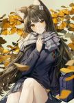 1girl alternate_costume animal_ear_fluff animal_ears bag bangs black_hair blue_sweater blush branch breasts cat_ears eyebrows_visible_through_hair girls_frontline grey_background grey_scarf hair_ornament highres large_breasts leaf long_hair long_sleeves minncn plaid plaid_skirt qbz-95_(girls_frontline) scarf school_bag skirt smile solo sweater yellow_eyes
