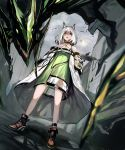 1girl 1other absurdres animal_ears arknights boots cat_ears chinese_commentary commentary_request crowd dragon eyebrows_visible_through_hair hands_in_pockets highres kal'tsit labcoat main0567 strapless summon white_hair