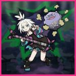 1girl bass_guitar blue_eyes boots dress gen_1_pokemon guitar hair_bobbles hair_ornament homika_(pokemon) instrument koffing looking_at_viewer pointing pointing_at_viewer pokemon pokemon_(game) pokemon_bw2 sagari-uma short_hair stage strapless strapless_dress striped striped_dress white_hair