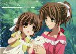 2girls absurdres antenna_hair brown_eyes brown_hair clannad flower furukawa_nagisa highres mother_and_daughter multiple_girls official_art okazaki_ushio scan