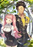 1boy 1girl axe bangs blunt_bangs breasts brown_hair claude_von_riegan collarbone commentary_request couple dark_skin fire_emblem fire_emblem:_fuukasetsugetsu fire_emblem:_three_houses fire_emblem_16 garreg_mach_monastery_uniform green_eyes hilda_valentine_goneril holding holding_sword holding_weapon intelligent_systems long_hair long_sleeves love nintendo one_eye_closed open_mouth outdoors parted_lips pink_eyes pink_hair ringozaka_mariko short_hair simple_background smile sword twintails uniform weapon wink
