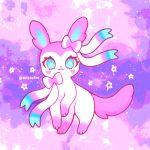 blue_eyes creature gen_6_pokemon heart heart-shaped_pupils kitsiefox looking_at_viewer no_humans pink_theme pokemon pokemon_(creature) solo star sylveon symbol-shaped_pupils