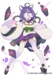 1girl ahoge animal_ears bow clog_sandals covered_eyes covered_face dog_ears dog_tail facing_viewer full_body green_bow high_heels long_sleeves multicolored_hair nagisa_kurousagi ofuda pigeon-toed pleated_skirt purple_hair purple_skirt short_hair simple_background skirt smile solo stirrup_legwear streaked_hair tail thigh-highs toeless_legwear watermark white_background white_legwear wide_sleeves youkai_hyakki-tan!
