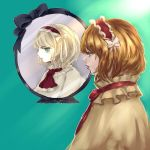 alice_margatroid art_shift ascot blonde_hair blue_background blue_eyes bow capelet closed_mouth hair_bow hairband heart heart-shaped_pupils inishie_kumo midriff parted_lips pink_lips red_hairband reflection short_hair symbol-shaped_pupils touhou white_bow white_capelet