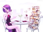 alternate_hair_color chair creature cup dress drinking drinking_straw flower gardevoir gen_3_pokemon holding holding_cup looking_at_another marikbentusi missingno. napkin no_humans plate pokemon pokemon_(creature) purple_dress purple_hair sitting table violet_eyes