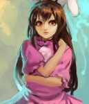 1girl alternate_hair_length alternate_hairstyle animal_ears bangs brown_hair dress inaba_tewi inishie_kumo long_hair looking_at_viewer parted_bangs pink_dress puffy_short_sleeves puffy_sleeves rabbit_ears red_eyes short_sleeves solo touhou upper_body