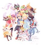 2boys 2girls ^_^ braixen bunnelby citron_(pokemon) closed_eyes creature dated dedenne english_text eureka_(pokemon) gen_1_pokemon gen_6_pokemon goodra greninja hawlucha hug mei_(maysroom) multiple_boys multiple_girls noivern pikachu pokemon pokemon_(anime) pokemon_(creature) pokemon_xy_(anime) satoshi_(pokemon) serena_(pokemon) simple_background sylveon talonflame white_background zygarde_cell