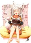animal_ear_fluff animal_ears apron bare_legs cake checkered checkered_dress chocolate_cake closed_eyes collarbone commentary_request dress eyebrows_visible_through_hair facing_viewer fangs food fox_ears fox_girl fox_tail hair_between_eyes highres holding holding_plate knees_up kohaku_(yua) long_sleeves no_panties open_mouth orange_dress original plate sitting tail thick_eyebrows translation_request valentine white_hair yua_(checkmate)