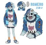 1boy :3 blue_hair blue_jacket blue_skin blush_stickers character_name closed_mouth collar da_huang fang jacket missing_eye multicolored_hair multiple_views musical_note open_mouth personification red_eyes romero_(zombie_land_saga) saga_prefecture sharp_teeth shoes short_hair shorts simple_background smile socks spiked_collar spikes teeth two-tone_hair white_background zombie_land_saga