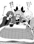 3girls anchovy_(girls_und_panzer) bangs bonkara_(sokuseki_maou) bowl braid carpaccio_(girls_und_panzer) chopsticks closed_eyes commentary drill_hair eating flying_sweatdrops food frown girls_und_panzer greyscale hair_ribbon hanten_(clothes) highres holding holding_bowl holding_chopsticks kotatsu leaning_to_the_side long_hair long_sleeves looking_at_another monochrome motion_lines multiple_girls noodles on_floor open_mouth pepperoni_(girls_und_panzer) ribbon short_hair side_braid sitting smile soba sweatdrop table tatami translated twin_drills twintails v-shaped_eyebrows