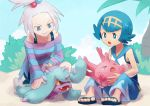 bike_shorts blue_eyes corsola dress forehead freckles gen_2_pokemon gen_7_pokemon gym_leader hair_bobbles hair_ornament homika_(pokemon) mareanie pokemon pokemon_(game) pokemon_bw2 pokemon_sm polyacryla sandals strapless strapless_dress striped striped_dress suiren_(pokemon) trial_captain