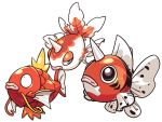 black_eyes blue_eyes fish fish_focus full_body gen_1_pokemon goldeen horn magikarp no_humans pokemon seaking sido_(slipknot) simple_background whiskers white_background