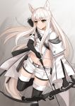 1girl animal_ear_fluff animal_ears arknights arrow asymmetrical_sleeves black_footwear black_gloves boots bow_(weapon) brown_eyes commentary compound_bow crop_top drawing_bow elbow_gloves expressionless floating_hair gloves highres horse_ears horse_tail kurisu-kun leg_up long_hair long_sleeves looking_away midriff platinum_(arknights) short_shorts shorts solo strap tail thigh-highs thigh_boots very_long_hair weapon white_coat white_hair white_shorts zipper