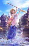 1girl arms_up blue_skirt blue_sky bra bracelet brown_hair building closed_mouth detached_sleeves final_fantasy final_fantasy_x floral_print hakama heterochromia holding holding_staff japanese_clothes jewelry leikangmin long_skirt looking_at_viewer outdoors sash short_hair skirt sky solo staff standing standing_on_liquid underwear water wide_sleeves yuna_(ff10)