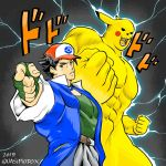 1980s_(style) 2boys abs araki_hirohiko_(style) baseball_cap black_hair brown_eyes commentary electricity fingerless_gloves gloves green_gloves hat jojo_no_kimyou_na_bouken jojo_pose male_focus manly multiple_boys muscle oldschool parody pikachu pointing pointing_at_viewer pokemon pokemon_(anime) pokemon_(classic_anime) pose quasimodox satoshi_(pokemon) stand_(jojo) style_parody yellow_fur