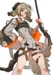 1girl :d arknights bangs blonde_hair breasts dress hand_on_hip highres holding holding_weapon horns ifrit_(arknights) looking_at_viewer open_mouth parted_bangs scales simple_background smile solo tail teeth thigh_strap towtow_redoland twintails weapon white_background yellow_eyes