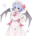 ascot bangs bat_wings blue_hair bow brooch cowboy_shot doyagao dress frills hand_on_hip hand_on_own_face hat hat_ribbon highres jewelry kt_kkz mob_cap pink_dress puffy_short_sleeves puffy_sleeves red_bow red_eyes red_ribbon remilia_scarlet ribbon ribbon_trim sash short_hair short_sleeves smirk touhou white_background wings