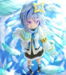 1girl absurdres amane_kanata angel_wings armband bangs black_skirt blue_hair blue_legwear blue_ribbon blue_sky blush boots brown_footwear commentary_request eyebrows_visible_through_hair eyes_visible_through_hair feathered_wings feathers frilled_skirt frilled_sleeves frills full_body glint grey_hair hair_ornament halo hand_in_hair highres hololive kurousagi_(0418kurousagi) leg_strap light_rays long_sleeves multicolored_hair neck_ribbon pigeon-toed plaid plaid_legwear reflection ribbon ripples sailor_collar school_uniform short_hair sidelocks skirt sky smile solo standing standing_on_liquid streaked_hair sunbeam sunlight two-tone_hair violet_eyes virtual_youtuber white_sailor_collar white_serafuku wings
