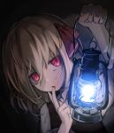 1girl absurdres black_background black_dress blonde_hair bow dress eyebrows_visible_through_hair hair_bow hair_ribbon hand_on_own_cheek highres holding_lantern lantern lit_ter long_sleeves looking_at_viewer red_eyes ribbon rumia shirt short_hair staring touhou white_shirt