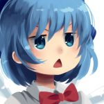 1girl bangs blue_eyes blue_hair boa_(brianoa) bow bowtie cirno close-up dot_nose face jitome miyauchi_renge no_lineart non_non_biyori open_mouth portrait red_bow red_neckwear short_hair solo touhou transparent_background triangle_mouth v-shaped_eyebrows wing_collar
