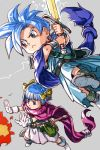 1boy 1girl :< alternate_hair_color blue_eyes blue_hair bob_cut brother_and_sister cape dragon_quest dragon_quest_v electricity fire grey_background hair_ribbon hankuri hero's_daughter_(dq5) hero's_son_(dq5) magic ribbon short_hair siblings simple_background spiky_hair sword twins weapon yellow_ribbon
