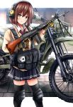 1girl absurdres assault_rifle bangs battle_rifle black_legwear black_skirt blurry blurry_background bright_pupils brown_eyes brown_hair card closed_mouth commentary day depth_of_field double_horizontal_stripe dress_shirt gloves green_gloves ground_vehicle gun harness headphones highres holding holding_gun holding_weapon howa_type_64 huge_filesize kawasaki_klx250 kk90 knee_pads looking_at_viewer miniskirt motor_vehicle motorcycle necktie original outdoors outside_border playing_card pleated_skirt red_neckwear rifle shirt short_hair skindentation skirt smile solo standing sweater tactical_clothes thigh-highs weapon white_pupils white_shirt white_sweater wing_collar zettai_ryouiki