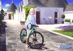 1girl bicycle blonde_hair boots green_eyes ground_vehicle highres hitomi_kazuya original short_hair