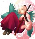 1girl ahoge black_ribbon boots bow brown_bow cherry_blossoms cross-laced_footwear fate/grand_order fate_(series) haori highres japanese_clothes katana lace-up_boots looking_at_viewer migiha obi okita_souji_(fate) okita_souji_(fate)_(all) pink_hair red_skirt ribbon sash skirt solo sword type-moon weapon white_background wide_sleeves yellow_eyes