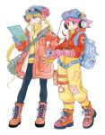 2girls adjusting_clothes adjusting_gloves azuma_kiyohiko backpack bag bangs blonde_hair blue_eyes blush boots eyebrows_visible_through_hair full_body gloves goggles goggles_on_head goggles_on_headwear hand_on_hip hat headphones highres holding jacket long_hair long_sleeves multiple_girls official_art open_mouth pants patch pink_eyes pink_hair pocket reset_(wonder_festival) short_hair simple_background smile spiky_hair standing turtleneck twintails wanda_(wonder_festival) white_background wonder_festival wonder_festival_mascots