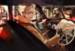 1boy black_gloves blue_eyes car_interior checkered_pants city coat coffee_cup commentary_request cup disposable_cup facial_hair fate/grand_order fate_(series) glasses gloves holding_map itefu james_moriarty_(fate/grand_order) male_focus map mustache sitting white_hair