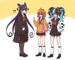 3girls ahoge bag chewing_gum fate/grand_order fate_(series) fujimaru_ritsuka_(female) hands_in_pockets long_hair moyashi_(momoyashi_321) multicolored_hair multiple_girls murasaki_shikibu_(fate) orange_hair pantyhose pleated_skirt purple_hair school_bag school_uniform sei_shounagon_(fate) side_ponytail skirt sunglasses twintails