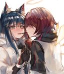 2girls animal_ear_fluff animal_ears arknights black_hair blush closed_eyes exusiai_(arknights) fangs gloves halo highres jacket long_hair looking_at_another multiple_girls nose_blush open_clothes open_jacket open_mouth raglan_sleeves redhead ryuuji_teitoku short_hair simple_background sweatdrop texas_(arknights) upper_body white_background white_jacket wolf_ears yuri