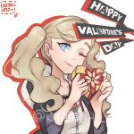 1girl artist_name atlus blonde_hair blue_eyes blush cute female_focus long_hair looking_at_viewer megami_tensei nyami_(pixiv_id_20804746) one_eye_closed p-studio parted_lips persona persona_5 school_uniform sega shin_megami_tensei shuujin_academy_uniform solo takamaki_anne twintails valentine wink