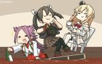3girls bare_shoulders blonde_hair blouse blush boots bottle braid brown_hakama chocolate closed_eyes corset crown cup dancing dark_green_hair dress flower french_braid garter_straps hairband hakama hamu_koutarou highres japanese_clothes jewelry jun'you_(kantai_collection) kantai_collection long_hair long_sleeves magatama mini_crown multiple_girls necklace off-shoulder_dress off_shoulder open_mouth purple_hair red_flower red_ribbon red_rose remodel_(kantai_collection) ribbon rose sitting skirt smile spiky_hair thigh-highs thigh_boots twintails warspite_(kantai_collection) white_dress white_legwear zuikaku_(kantai_collection)
