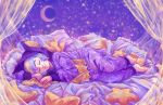 1girl closed_eyes commentary commission crescent_moon curtains english_commentary full_body highres moon multicolored_hair night night_sky original pajamas pillow rosewater sky sleeping smile solo star_(sky) starry_sky two-tone_hair